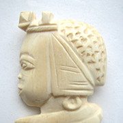African Ivory Figural Lady Pin
