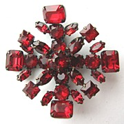 Regal RED Unsigned SCHREINER Layered Rhinestones Snowflake Pin!