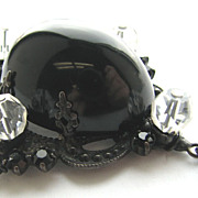 Bold & Beautiful SCHREINER Black & Clear Lucite Bulbous Dangle Pin!