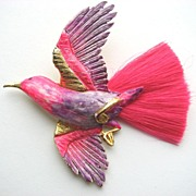 Outstanding HATTIE CARNEGIE Silk Fiber Brush Tail Pink Enameled Bird Pin!