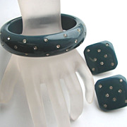 CASTLECLIFF Rhinestone Studded BAKELITE Bangle Bracelet & Earrings