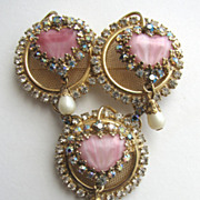 "HOBE ""Mayorka Petals"" Heart-shaped Pink Rhinestones with Aurora Borealis Latched Pin"