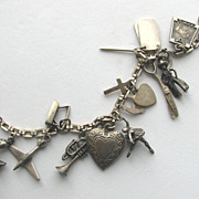 1930-40s Sterling Puffy Hearts and Mechanical Charms Some Signed MEXICO!