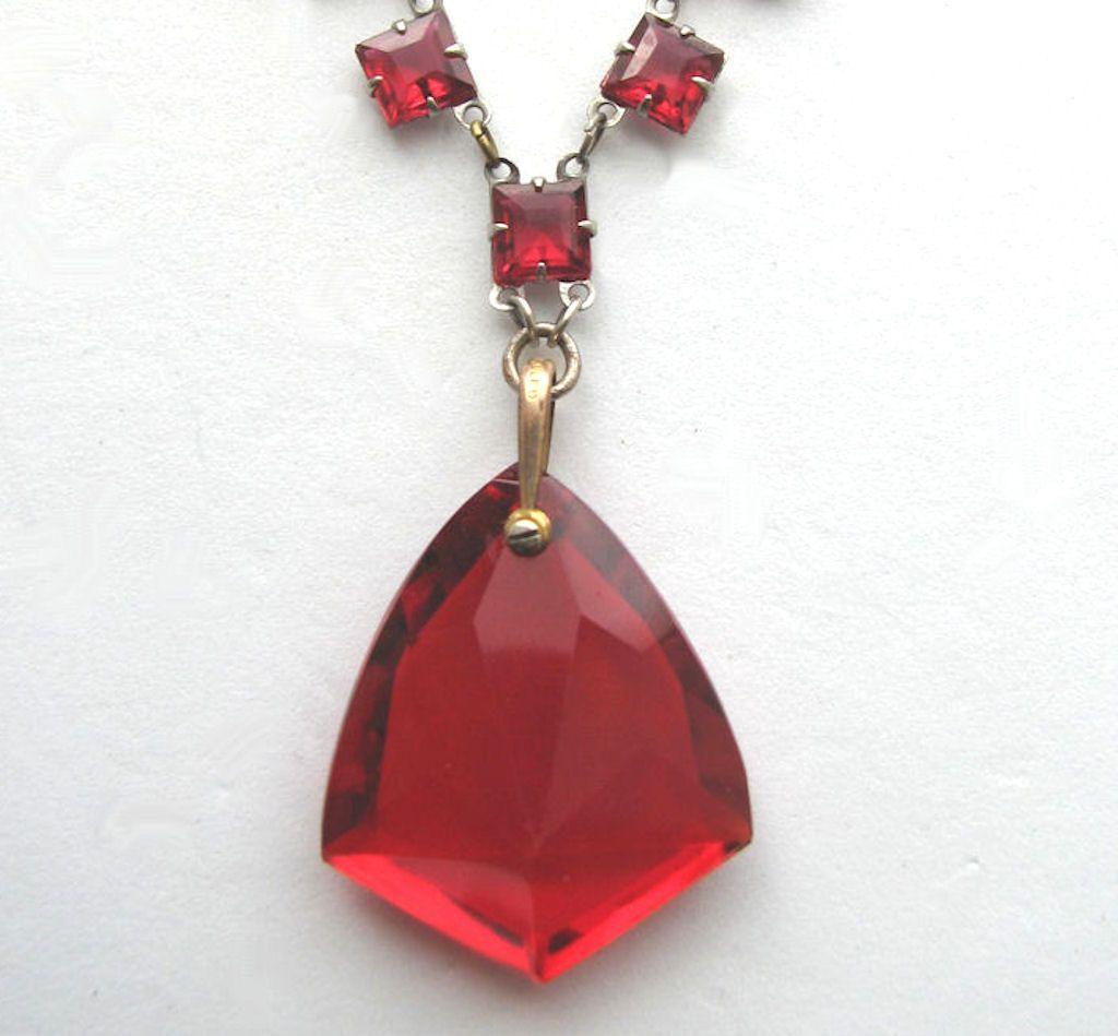 Marvelous RED Art Deco Drop Necklace!