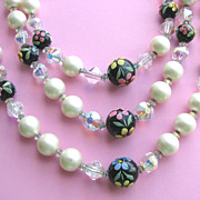 Triple Strand Faux Pearls, Crystals & Painted Beads HOBE Necklace!