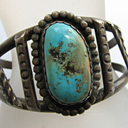 Native American Indian Turquoise & Silver Bracelet Artist Mark