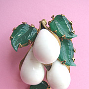 Superb Bulbous SCHREINER Three Dimensional Pin with Molded Glass Leaves!