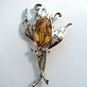 1940s Sterling Silver Vermeil REJA Floral Pin!