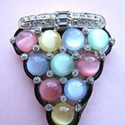 Moonglow Pastel Glass Cabochons Dress Clip