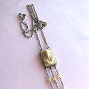 Egyptian Revival Pharaoh Molded Glass Dangly Necklace