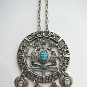 Egyptian Revival Scarab Medallion Necklace