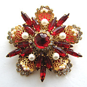 SOLD Hattie CARNEGIE Pin Red Rhinestones & Filigree