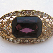 Victorian Revival Pin with Purple Stone