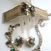 HOBE Rhinestones Parure with Necklace, Earrings, Bracelet