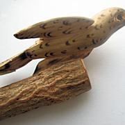SALE Antique Dutch Folk Art Hand Carved Wooden Bird Whistle