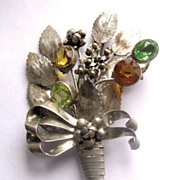 Large 1940s HOBE Sterling Silver Floral Spray with Rhinestones