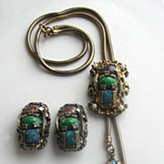 Revival Art Glass Bolo Slide Necklace and Earrings