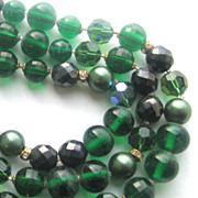 DeMARIO Triple Three Strand Shades of Green & Black Glass & Lucite Beads