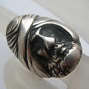 Arabian Man Face Sterling Silver Ring