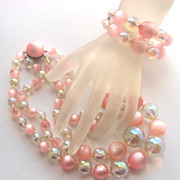 Pink Moonglow Lucite Beads Necklace & Memory Wire Bracelet