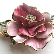 VENDOME Enameled Rose Flower Pin