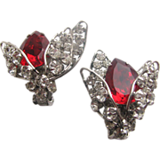SCHREINER Red & Clear Layered Rhinestones Earrings