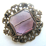 Purple Rhinestones Ornate Setting Czech Pin