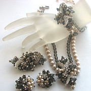 Rhinestone Encrusted Gray Beads & Faux Pearls Parure