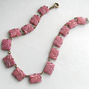 Art Deco Molded Pink Glass Necklace