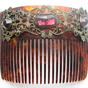 Victorian Hair Comb with Purple Rhinestones
