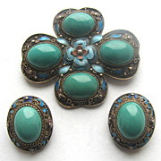 Chinese Export Silver Enameled Pin & Earrings