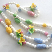 Pastel Glass Flower Clusters & Milk Glass Beads Necklace