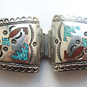 Native American Inlaid Turquoise Coral Signed Navajo Watch Tips