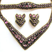 KRAMER of New York Encrusted Purple Rhinestones Parure