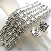Extra Wide Rhinestones Bracelet & Earrings