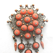 1930s Coral Molded Stones Dangly Dangling Pin