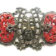 Asian Chinese Motif Enameled Face Pin
