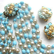 ROBERT Turquoise & Faux Pearls Beads Necklace & Earrings