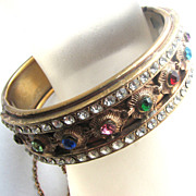 Multi Colored Rhinestones Hinge Bracelet