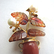 SWOBODA Carnelian & Pearl Flowers & Vase Pin