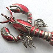Lobster Trembler Pin with Red Metallic Enameled Details