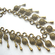 Early Brassy Ornate Dangling Fringe Necklace