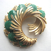 TRIFARI Green Cabochons Swirling Pin