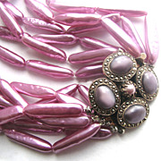 Luminous Lavender Faux Pearls & Marcasite Clasp Necklace!