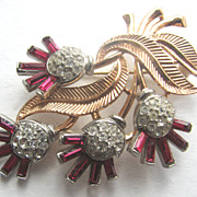 Crown TRIFARI Floral Pin with Ruby Red Baguettes