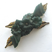 Early Molded Green Plastic Floral Pin