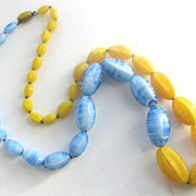 CZECH Blue & Yellow Glass Striated Beads