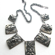 1950s Silver African Ethnic Masks Necklace