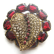 Red Rhinestones & Filigree Leaf Pin