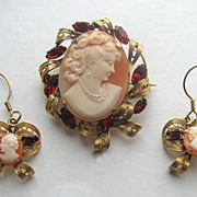 Carved Shell Cameo Pin / Pendant & Earrings in Filigree Frame